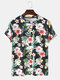 Mens 3D Floral Printed Round Neck Casual Short Sleeve T-shirts - Black