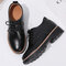 Women's Solid Color Lace Up Butterfly Knot Flats Oxfords Shoes - Black