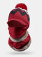 Women 3PCS Plus Velvet Thick Warm Winter Suits Neck Face Protection Knitted Hat Scarf Mask - Wine Red