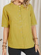 Floral Embroidery Button Stand Collar Short Sleeve Women Blouse - Yellow
