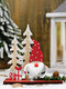 1Pc Christmas Ornaments Wooden Pine Cones Double Tree Forest Old Man Wooden Standing Desktop Ornament - Red