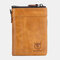 Men Anti theft Genuine Leather 15 Card Slots Short Wallet Purse - Brown