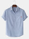 Mens Striped Cotton Breathable Casual Short Sleeve Shirts With Pocket - Blue