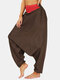 Striped Print Patchwork Plain Harem Bloomers Pants With Pocket - Brown