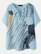 Jellyfish Printed Brief Button Plus Size Pocket Blouse for Women - Blue