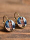 Vintage Glass Gem Dangle Women Earrings Animal Insect Cats Birds Pattern Earrings - #10