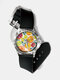 Casual Watercolor Women Wrist Watch PVC Band Leaf Bird Fruit Pattern Men Quartz Watch - #01