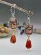 Vintage Amazon Stone Jasper Agate Earrings Drop-Shaped Dangle Earrings - Red