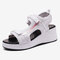 Women Mesh Stitching Breathable Casual Wedges Sports Sandals - White