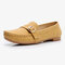 Women Metal Soft Sole Moccasins Stitching Solid Color Loafers - Yellow