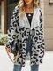 Women Leopard Print Lapel Collar Long Sleeve Casual Cardigan - Gray