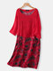 Vintage Floral Print Fake Two Pieces Plus Size Dress with Pocket - Red