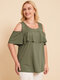 Ruffle Off Shoulder Plus Size Casual Blouse for Women - Green