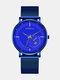 Alloy Steel Business Casual Mesh Belt Calendar Mens Quartz Watch - Blue+Blue