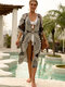 Women Jacquard Sheer Lace Up Robe Beach Cover Ups Swimsuit - Black