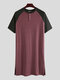 Patchwork Cozy Length Top Design Robes Breathable O Neck Short Sleeve Sleepwear for Men - Wine Red