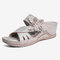 LOSTISY Flower Peep Toe Stitching Casual Wedges Sandals - Gray