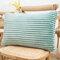Striped Flannel Rectangular Pillowcase Backrest Cover Cushion Cover Pillowcase - Green