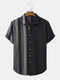 Mens Striped Patchwork 100% Cotton Casual Short Sleeve Shirts - Black