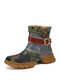 SOCOFY Genuine Leather Embroidery Splicing Comfy Round Toe Casual Short Boots - Black