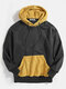 Mens Contrast Patchwork Casual Relaxed Fit Kangaroo Pocket Drawstring Hoodies - Black