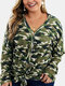 Camouflage Print Button Knotted V-neck Blouse Plus Size Cardigan - Green