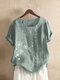 Vintage Floral Printed O-neck Short Sleeve Button T-shirt - Green
