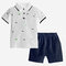 Boy's Dinosaur Print Short Sleeves T-shirts+Pants Casual Clothing Set For 1-8Y - White
