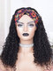 African Small Curly Headscarf Wig Middle Part Fluffy Long Curly Hair - Black