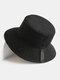 Cappello da pescatore unisex a doppia faccia in cotone a tesa larga con stampa tinta unita - Nero
