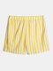 Mens Plain Striped Casual Drawstring Mid Length Swim Trunks - Yellow