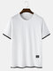 Mens Contrast Faux Twinset 100% Cotton Casual Short Sleeve T-Shirts - White