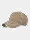 Men Washed Cotton Plain Color Baseball Cap Outdoor Sunshade Adjustable Hat - Khaki