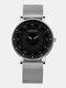 6 Colors Men Business Watch Adjustable Alloy Mesh Band Luminous Quartz Watch - White Pointer Silver Band