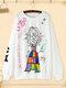 Cartoon Letter Graffiti Print Crew Neck  Plus Size Pullover Cotton Sweatshirt - White