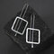 Vintage Silver Plated Square Pendant Earrings Simple Geometric Women Jewelry - Silver