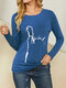 Cat Print Long Sleeves O-neck Casual T-shirt For Women - Navy Blue