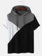 Mens Tricolor Patchwork Short Sleeve Casual Hooded T-Shirt - Brown