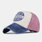 Washed Denim Retro Embroidery Baseball Cap Men And Women Cap - Wine Red
