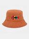 Women & Men Woolen Embroidery Fish Bone Cute Casual Bucket Hat - Orange