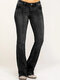Solid Color Mid-waist Pockets Casual Jeans For Women - Black
