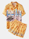 Holiday Tropical Hawaii Pattern Sets Two Pieces Outfits Short Sleeve Shorts with Loose Bottoms Beachwear for Men - Yellow