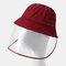COLLROWN Detachable Sun Visor Fisherman Hat Anti-fog Cover Face - Wine Red