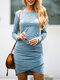 Solid Color O-neck Long Sleeve Pleated Midi Dress - Blue