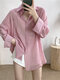 Solid Color Long Sleeve Turn-down Collar Asymmetrical Blouse For Women - Pink