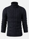 Mens Twisted Knitted High Neck Solid Color Casual Basic Sweater - Navy