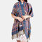 Women Ethnic Style Keep Warm Plus Thick Long Scarf Shawl With Tassel - Blue2