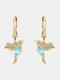 Alloy Cute Micro-set Bird-shape Earrings For Women - Blue.