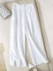Solid Color Elastic Waist Pocket Long Casual Pants for Women - White