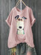 T-shirt casual a manica corta per cani stampa Cartoon